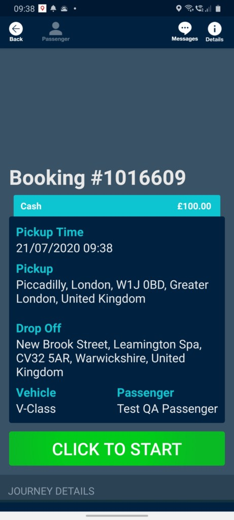 Starting a booking